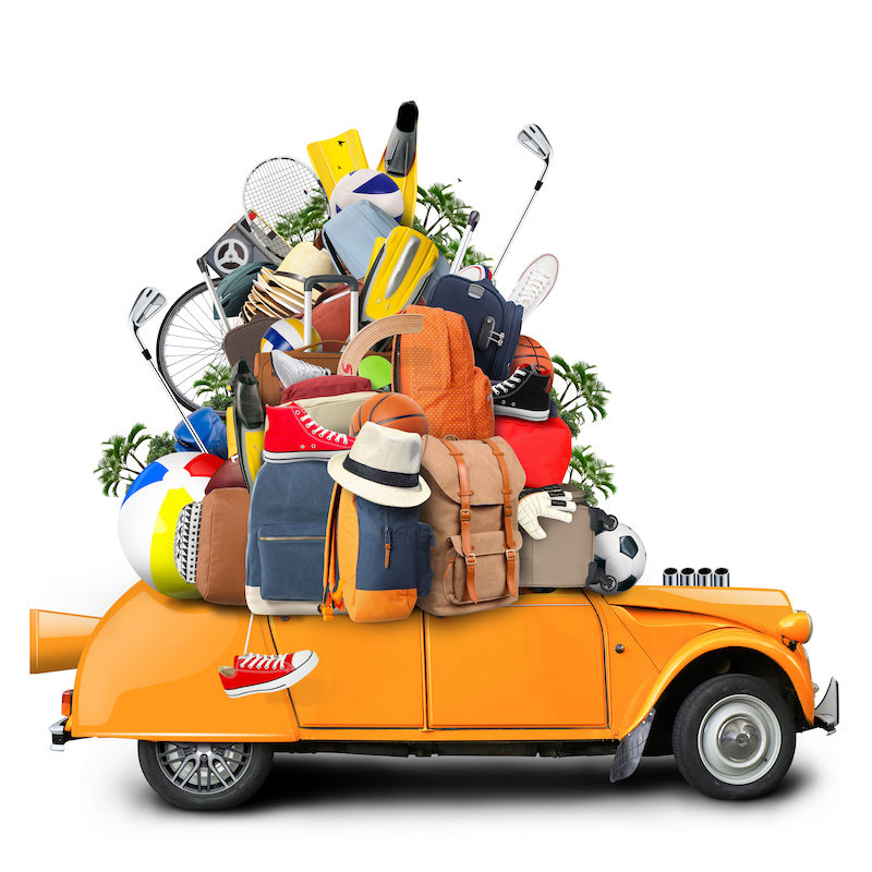 Vacation and travel, a huge pile of things for the holiday